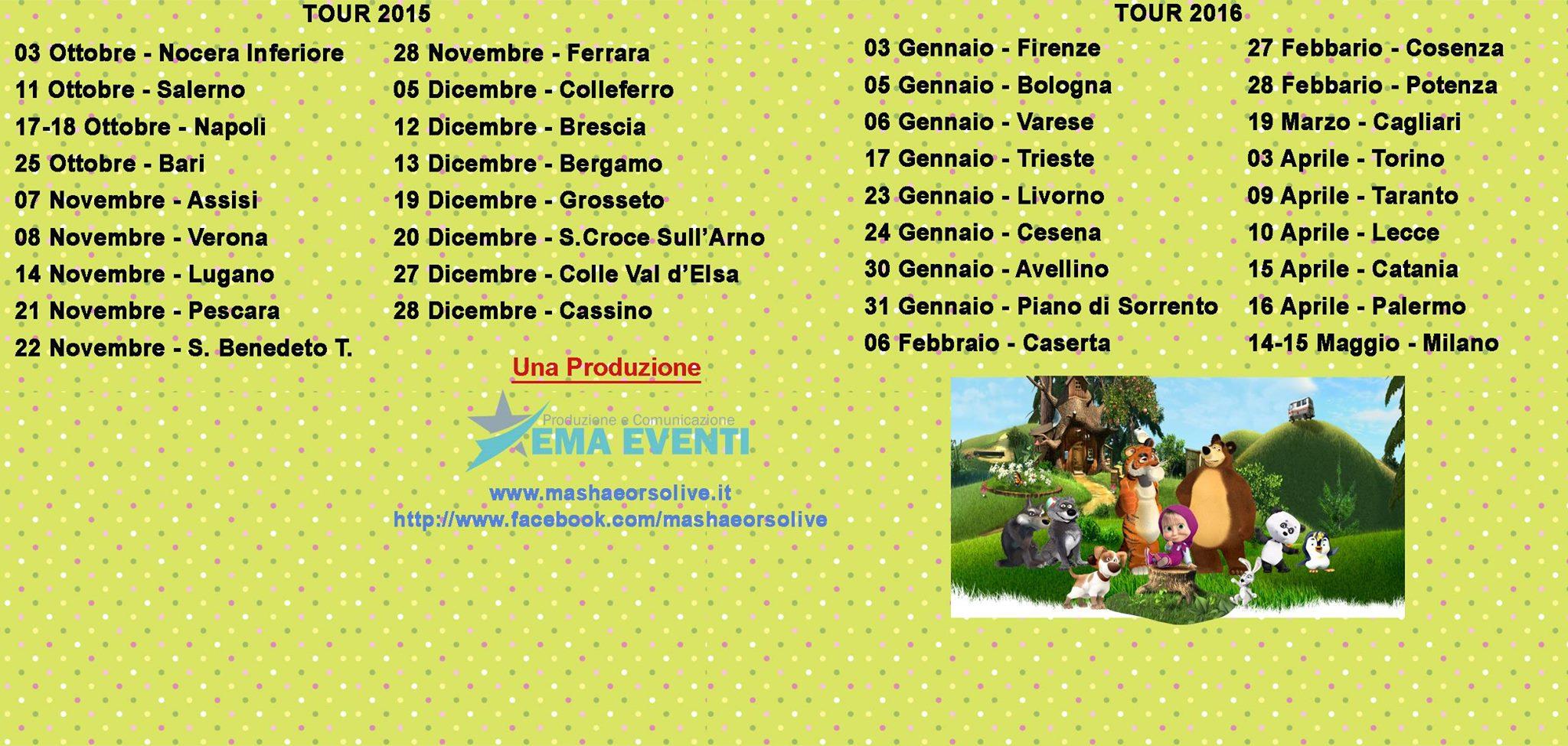 Masha e orso live show in tour italia danza effebi