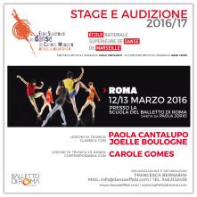 Audizione Stage a Roma per l'ammissione all'Ecole Supérieure de Danse de Cannes-Mougins Rosella Hightower, all'Ecole Nationale Supérieure de Danse de Marseille e al Cannes Jeune Ballet