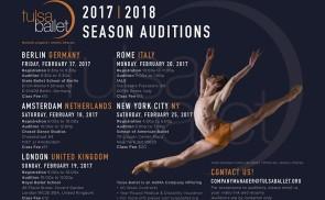 Audizioni Tulsa Ballet per la stagione 2017-2018 a Berlino, Amsterdam, Londra, Roma e New York.