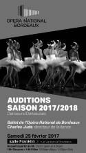 Audizione Ballet de l'Opéra National de Bordeaux diretta da Charles Jude per danzatori e danzatrici tra i 16 e i 28 anni per la stagione 2017-2018 (Francia)