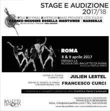 Audizione Stage a Roma per l'ammissione al Pôle National Supérieur Danse - Cannes-Mougins Rosella Hightower - Marseille - Cannes Jeune Ballet.