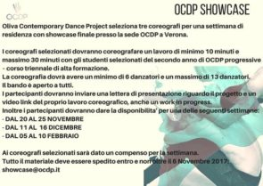 OCDP Showcase. Oliva Contemporary Dance Project seleziona tre coreografi