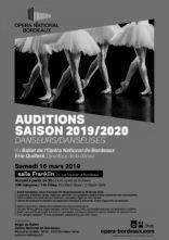 Audizione Opéra National de Bordeaux per ballerini e ballerine tra i 16 e i 28 anni per la stagione 2019/2020 (Francia)