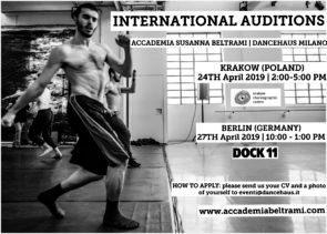Accademia Susanna Beltrami. Audizioni a Cracovia, Berlino e Milano per il Triennio di formazione - Professional Training Program