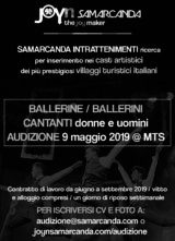 Audizione Samarcanda Intrattenimenti per ballerini e ballerine per villaggi turistici