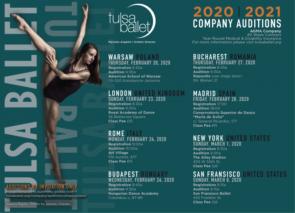 Tulsa Ballet. Audizioni per danzatori e danzatrici a Varsavia, Londra, Roma, Budapest, Bucharest, Madrid, New York e San Francisco