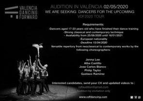 Audizione Valencia Dancing Forward per danzatori e danzatrici tra i 17 e i 23 anni per VDF tour 2020 (Spagna)