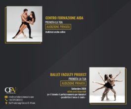 Centro Formazione AIDA. Audizioni il percorso accademico e per il percorso di perfezionamento Ballet Faculty Project